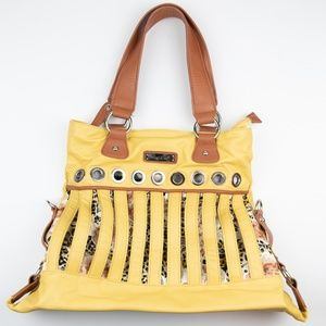 Nicole Lee Yellow Large Purse Tote Leopard Silver